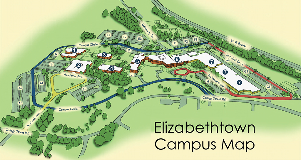 Elizabethtown Campus Map with buildings identified with numbers 1-7, as described in text below the image.  The building numbers begin on the west side of campus heading toward the east side.